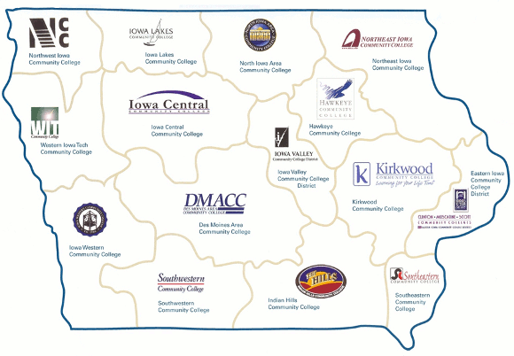 map of community colleges in Iowa